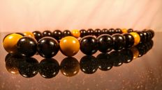 Huge Black and Egg yolk colour Round modified beads Baltic Amber necklace, length 59 cm, 100 grams