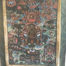 Thangka, Buddha life signed - Tibet - late 20th century (71 cm)