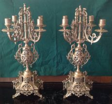 Pair of bronze candelabras with four branches - Historicism style