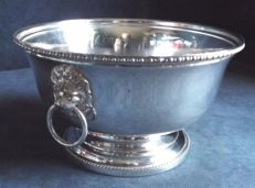 Large silver plated bowl with handles shaped as a lion's head, ca. 1930