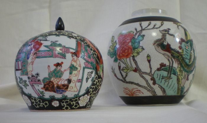 Two porcelain ginger jars - China - late 20th century
