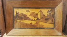 Sorrento Wooden Mosaic Picture Gallè style, 1920 - Italy - Village view - signed