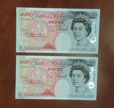 Great Britain - 2 x 50 Pounds 2006 Consecutive Serials - Pick 388c /  BE 262b