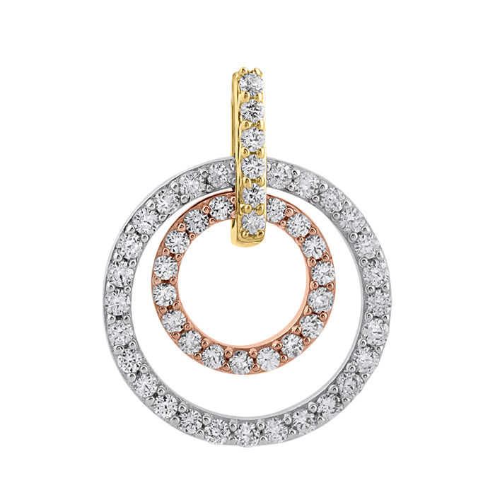 18Kt. Three colour yellow ,white and pink classy gold  pendant set with diamonds 0.51ct. , GH colour and SI1 clarity