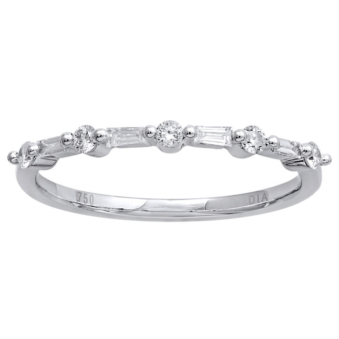 18Kt. White gold eternity diamond ring set with BAGUETTE CUT/ROUND BRILLIANT diamonds  0.21 ct. ,GH colour and VS1 clarity , Size 54/N