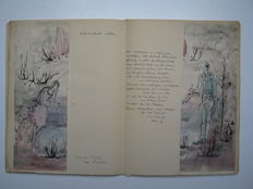 Manuscript; The story of Pierrot and Columbine illuminated with original watercolours and pen drawings - c. 1965