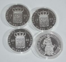 The Netherlands - Silver ducats 1998, 1999, 2000 and 2001 (4 different)