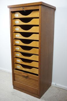 Designer unknown - Oak roller shutter cabinet - filing cabinet with drawers