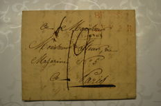 "Belgium 1820 - forerunner sent from Brussels to Paris with Herlant postmark "" Brussel"" and ""L.P.B.2. R"""