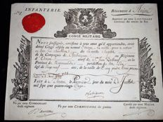 Beautiful military leave, Royal Infantry Regiment of Anjou, 1791, approved by Lt General of the King's armies