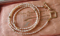 Old, long Italian necklace made of very fine cultured baroque freshwater pearls