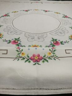 Hand embroidered tablecloth with flowers and butterflies decorations. Italy 1960 / 1970.