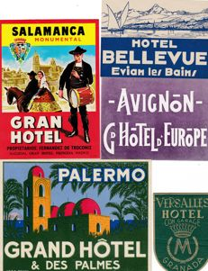 Collection of 37 beautiful Luggage/Hotel-labels