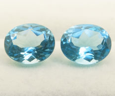 Swiss blue topazes - pair - 10,75 ct total