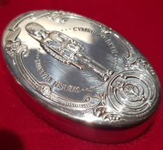 The Guards Regiments Silver Box Collection - Solid 925/100 silver pill box - Welsh Guards - Franklin Mint