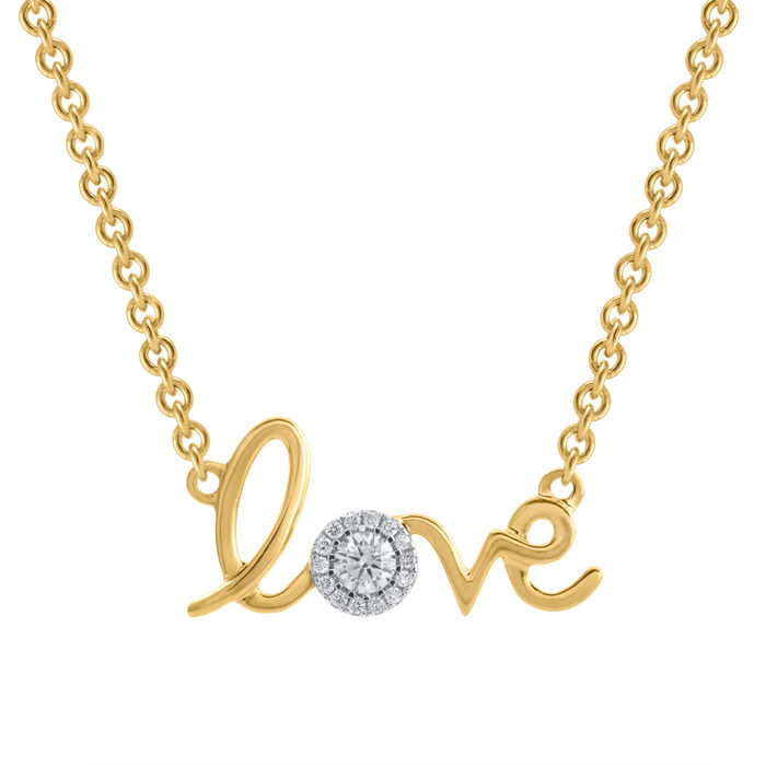 """ LOVE "" sign 18Kt. yellow gold diamond pendant set with diamonds 0.15ct. (centre approx. 0.12ct.) ,Gh colour and SI1 clarity , comes with 18inch long chain ."