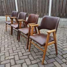 Manufacturer unknown - set of 4 teak wood chairs with brown faux leather upholstery