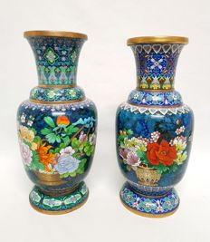 Two cloisonné vases - China - 2nd half 20th century