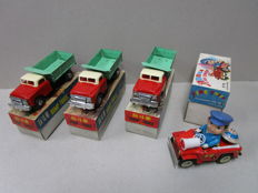 "STF, China - Length: 12-17 cm - Lot of 3 x tin ""Dump Truck"" MF973 and ""Clockwork Fire Chief Jeep"" MS884 with friction/wind-up, 70s"