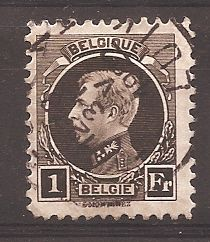 Belgium 1922 - Albert I small Montenez, 1F black-brown with perforation 11 x 11 - OBP 214A