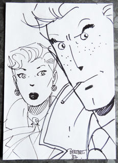 "Berthet, Philippe - Original felt pen drawing - ""Le Privé d'Hollywood"" - (1987)"