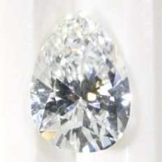 Certified pear cut diamond 0.65 ct, E - VS2