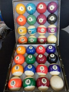 2 Sets of Pool balls in various sizes - 2nd half of 20th century.