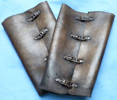 Very rare and original WW1 Imperial German Army Officer's Leather Gaiters