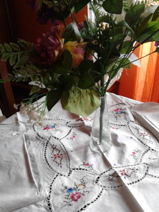 Tea tablecloth with cross stitch embroidery