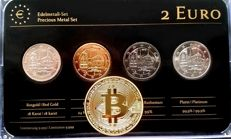 """Germany -  2 euro 2013, """"Precious Metals"""", (four different coins), refined; with also a """"bitcoin"""" medal"""