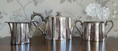 Antique Victorian 3-piece silver plated tea set richly decorated, by James Dixon & Sons