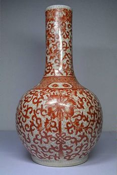 Craquelure  vase signed with an artemisia leaf - China - 19th century