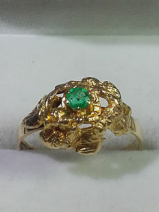 Unik natural emerald 14 gold ring, year 1975, size 15.75/ 2.15g***no reserve