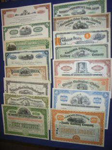 100+ years of US Railroad history in 69 diff. share certificates, 1879 – 1982