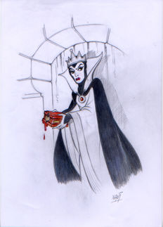 Vives Mateu, Xavier - Original inspirational Sketch - The Evil Queen keeps a heart in her chest
