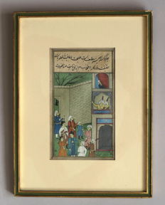 Indo-Persian miniature and manuscript (double-sided) - Iran - late 19th century