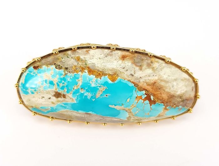 Giant Turquoise Statement Ring- 73.35 carats Turquoise in 18 kt Yellow Gold