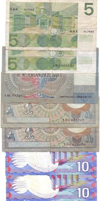 Netherlands - 5 to 10 guilders 1940/1997 - 7 different notes (including 6AA)