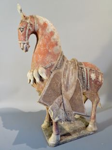 Outstanding tall parade pottery horse, Wei dynasty, with TL test - 45cm high X 32cm long