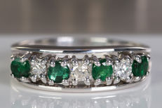 Emerald & diamond row ring - size 53 - No reserve!