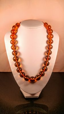 Aged Cognac colour round modified beads Baltic Amber necklace, length 50 cm, 78 grams