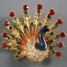 Peacock brooch - Sphinx N  Y 1960 - red hues