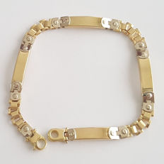 18 kt two-tone white and yellow gold bracelet - Length: 21 cm