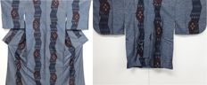 Set of antique silk kimono - Oshima Tsumugi with traditional patterns - Japan - Mid 20th century