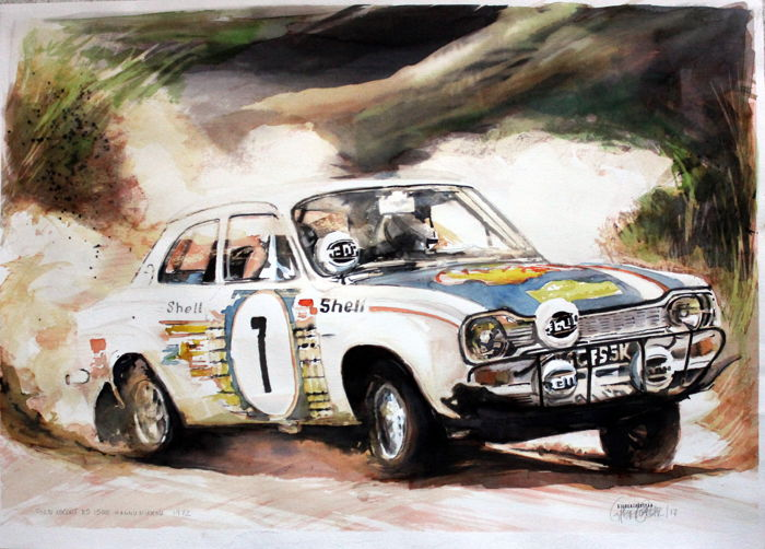 Ford Escort Anni 70.Ford Escort Rs1600 Hannu Mikkola Rally Cars Watercolour 50 X