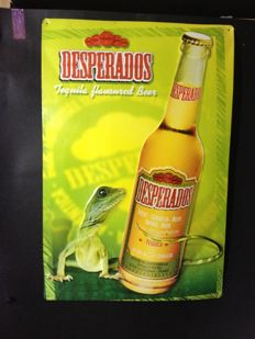 Enamelled sign with relief figures. Desperados beer, 2003