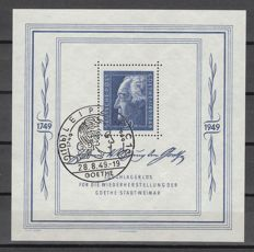 Soviet Zone 1949 - block issue Goethe Festwochen with special (commemorative) cancellation Leipzig - Michel block 6