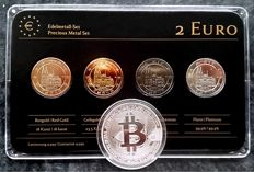 """Germany - 2 Euros 2011 """"Precious Metals"""" (4 different), ennobled plus """"BitCoin"""" medal"""