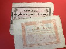 France - 2 very large margins Assignats of 1,000 and 2 000 Francs created on the 3rd year of the Republic - Pick A80 and A81