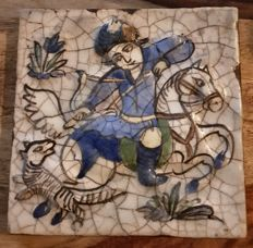 Large Ceramic Tile Picture - Iran - Mid 20th Century (18.3 cm x 18 cm)